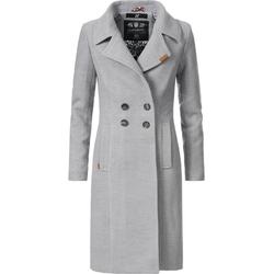 Navahoo Wintermantel Wooly edler Damen Trenchcoat in Wollmantel-Optik grau XL (42)