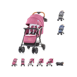 Chipolino Kombi-Kinderwagen Kinderwagen 2 in 1 April, 22 kg, klappbar, Vorderräder gefedert rosa