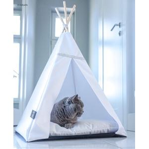 Halkalife Haustier-Tipee Glamour Bett Katzen- und Hunde-Zelt, Haustierhaus (M, weiß, weiß)