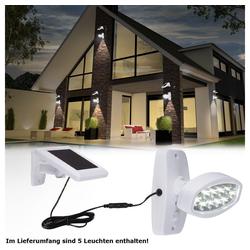 etc-shop LED Baustrahler, 5er Set LED Solar Außen Leuchte Lampe Bewegungsmelder Wand Strahler Beleuchtung