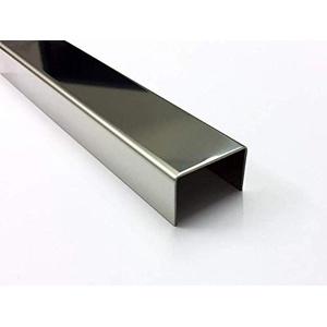 1000 mm U-Profil aus 2,0 mm Edelstahl IIID spiegelblech gekantet Breite 35 bis 60 mm 40 x 40 x 40 mm