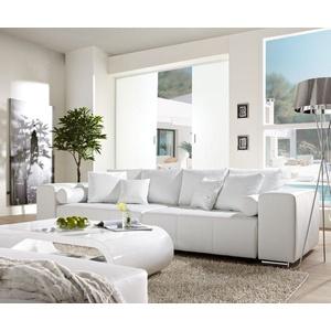 DELIFE XXL-Couch Marbeya mit Kissen Bigsofa weiß