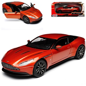 Motormax Aston Martin DB11 Coupe Orange Metallic Ab 2016 1/24 Modell Auto mit individiuellem Wunschkennzeichen