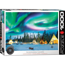 empireposter Puzzle Nordlichter in Yellowknife - 1000 Teile Puzzle Format 68x48 cm, 1000 Puzzleteile