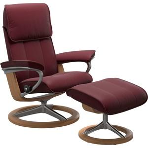 Stressless® Relaxsessel Admiral (Set, Relaxsessel mit Hocker), mit Hocker, mit Signature Base, Größe M & L, Gestell Eiche rot 93 cm x 113 cm x 79 cm