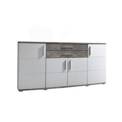 Sideboard Jam weiß Hochglanz/Beton-Optik