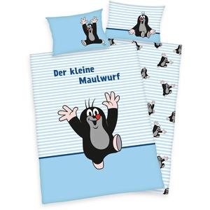 Klaus Herding GmbH Der kleine Maulwurf Bettwäsche 40x60 + 100x135cm 100% Baumwolle mit Reißverschluss