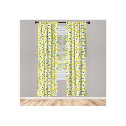 Gardine Vorhang für Wohnzimmer Schlafzimmer Dekor, Abakuhaus, Zitrone Frucht-Kunst-Zitronen und Blätter 150 cm x 175 cm