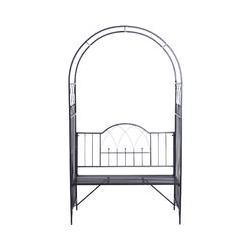 Outsunny - Arche à rosiers banc de jardin 3 places 2 en 1 dim. 115L x 59l x 203H cm métal époxy noir