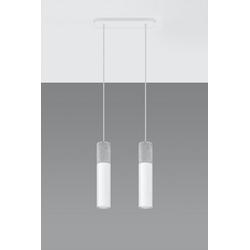 Licht-Erlebnisse Pendelleuchte JUNIA Hängeleuchte Weiß Grau Metall Beton verstellbar Esstisch Kücheninsel