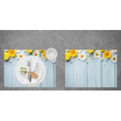 """Platzset, Tischset I Platzset - Blumen - """"Blumen auf Holztisch"""" - 12 Stück aus hochwertigem Papier in Aufbewahrungsmappe, perfekt für die Frühlingsdekoration, Tischsetmacher, (12-St)"""