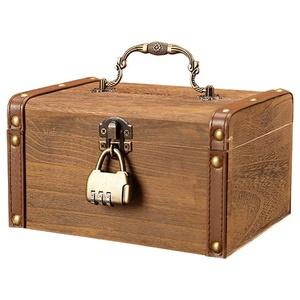 Spardosen Mit einem zwischengespeicherten Geld kann nicht Kinder Erwachsenenheim Kreative Holzsparkasten Große Kapazität Passwort Box Geld Wohnaccessoires Spardosen Sparbüchsen (Größe : 14cm)