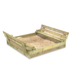 Wickey Sandkasten Flip mit Klappdeckel 120x125 cm - Sandkasten mit Sitzbank und integriertem Deckel
