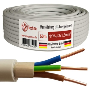 M&G Techno 50m NYM-J 3x1,5 mmІ Mantelleitung Feuchtraumkabel Elektrokabel Kupfer Made in Germany