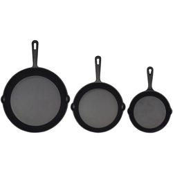 Jim Beam BBQ Grillpfanne, Gusseisen (3-tlg), 15,8 / 19,7 / 24,8 cm Durchmesser