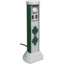 REV 0068206261 Gartensteckdose mit Zeitschaltuhr 2fach Grau, Grün mit Zeitschaltuhr