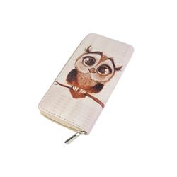 DonDon Geldbörse Geldbeutel Portemonnaie Eulen (1-tlg), Geldbörse für Damen und Mädchen, süße Eulenmotive, mit Reißverschluss weiß