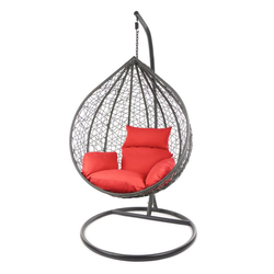 KIDEO Hängesessel MANACOR Schwebesessel mit Gestell und Kissen, moderne Loungemöbel rot