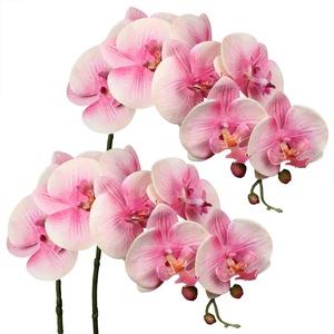 2 Stück Kunstblume Orchideenzweig Künstliche Phalenopsis Orchidee Dekorative Weiße Blumen Kunstzweig Deko Real-Touch Kunstblumen Wie Echt mit 9 Blüten