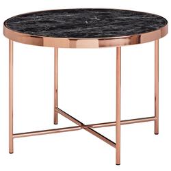 FINEBUY Beistelltisch FB53076, Design Beistelltisch Rund Ø 60 cm in Marmor Optik Schwarz Wohnzimmertisch mit Metallgestell in Kupfer Runder Couchtisch Wohnzimmer
