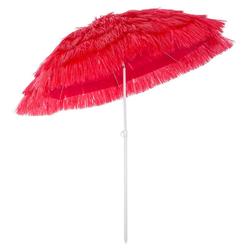 Kingsleeve Sonnenschirm, 160 cm Neigbar Höhenverstellbar Erdspieß Robust Standsicher leichter Transport Hawaiischirm Strandschirm Strandsonnenschirm rot