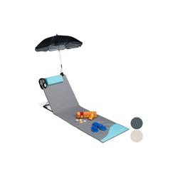 relaxdays Gartenliege Strandmatte mit Sonnenschirm