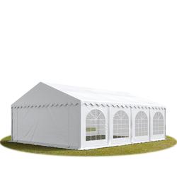 Toolport Partyzelt 6x8m PVC 500 g/m² weiß wasserdicht Gartenzelt, Festzelt, Pavillon
