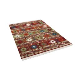 Wollteppich Natur Teppich Kelim Sumak Modern, THEKO, Rechteckig, Höhe 10 mm 70 cm x 140 cm x 10 mm