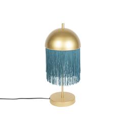 Orientalische Tischlampe Gold mit grünen Fransen - Fransen
