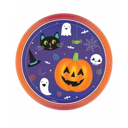 Amscan Dekofigur 8 Stück Happy Halloween Teller als Partygeschirr