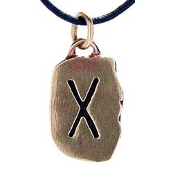Kiss of Leather Kettenanhänger Rune Runen Anhänger Bronze Buchstabe G Gebo Gyfu Gabe
