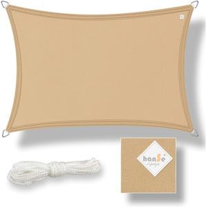hanSe® Sonnensegel 100% Polyester PES Sonnenschutz Marken-Sonnensegel wasserabweisend wetterbeständig Rechteck 3x6m Sand