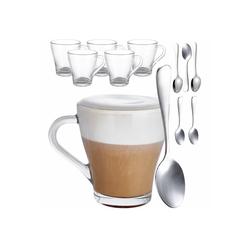 Cosumy Gläser-Set 6 Cappuccino Gläser mit löffel (6-tlg), Glas, Cappuccino Gläser Set mit Henkel und Löffel - 250 ml - Hält lange warm