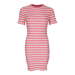 Tommy Jeans TJW STRIPED RIB TEE DRESS 0D9, Gr. L, VISKOSE - Damen Kleid