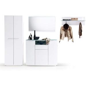 expendio Garderobe Cooper 17 weiß Hochglanz 4-teilig Garderobenmöbel Garderobenset Dielenmöbel Flurmöbel Kommode Spiegel Paneel