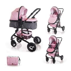 Lorelli Kombi-Kinderwagen Kinderwagen Alba, 2 in 1 Sportsitz Babywanne Gummireifen, einstellbar rosa