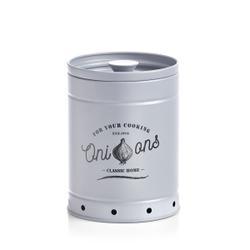 Zeller Zwiebel Vorratsdose, Aufbewahrungsdose aus Metall, Maße: ca. Ø 13,7 x 18,4 cm, grau