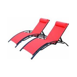 Sonnenliegen-Duo aus Aluminium - Louisa Koralle - Liegestühle aus Aluminium und Textilene