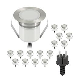 LED Boden-Einbauleuchte RIMI für außen weiß, je 25lm, IP67, 30mm Ø 16er Set