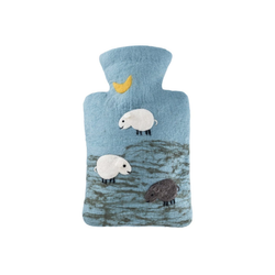 Hugo Frosch Wärmflasche, Wärmflasche Klassik 1,8 L mit Filzbezug Schafe