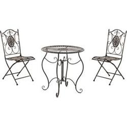 CLP Garten-Sitzgruppe Aldeano Aus Eisen I Pflegeleichtes Gartenmöbel-Set: 2 x Klappstuhl Und 1 x Tisch