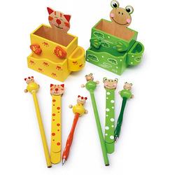 """Stiftebehälter """"Katze und Frosch"""" gelb/grün"""