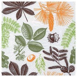 Linoows Papierserviette 20 Servietten Herbst Aquarell, Früchte & Blätter, Motiv Herbst Aquarell, Früchte & Blätter des Waldes
