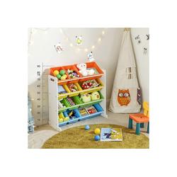 SONGMICS Aufbewahrungsbox GKR04W, Kinderregal, Kinderzimmerregal, Spielzeugregal, vier Farbe