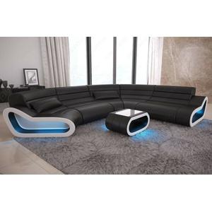 Sofa Wohnlandschaft Leder Couch Design Sofa Ottomane CONCEPT XXL LED Beleuchtung