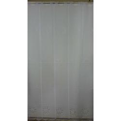 Raffrollo Vorhang Scheibengardine Blumen weiß H 140 cm, Meterware