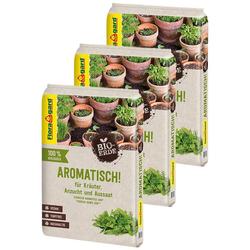 Floragard Anzucht- und Kräutererde Aromatisch Bio-Qualität, (3-St), Kräuter- und Aussaaterde, 3x10 Liter