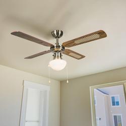 Industrieller Deckenventilator mit Lampe 100 cm Holz - Wind