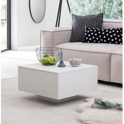 FINEBUY Couchtisch FB51831, Design Couchtisch 60 x 60 cm Quadratisch - Holz Weiß Wohnzimmertisch Cube Beistelltisch