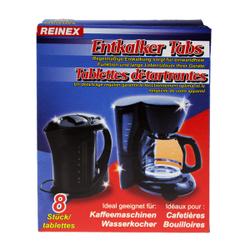 Reinex Entkalker Tabs, Ideal geeignet für Kaffeemaschinen und Wasserkocher, 1 Packung = 8 Stück